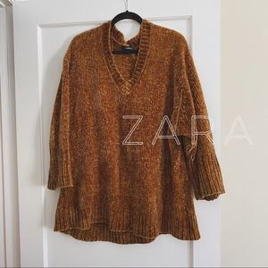 Zara // gold chenille sweater